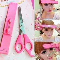 Wholesale Bangs Haircut Artifact Ruler And Scissor DIY Hairdressing Scissors Beauty Tools Suit