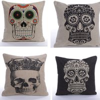 Cheap 5pcs lot Vintage Personality Cotton Linen Skull Pillowcase Mix Styles Cushion Cover Pillow Case For Sofa Bed Cars Decoration