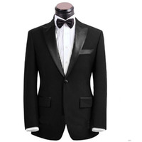Wholesale Custom Made black Men Suit Tailor Made Suit Bespoke Men Wedding Suit set Slim Fit Groom Tuxedos For Men Jacket Pants Bow