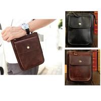 Wholesale Mens PU Leather Pouch Hiking Fanny Waist Belt Hip Pack Shoulder Diagonal Cellphone Bags