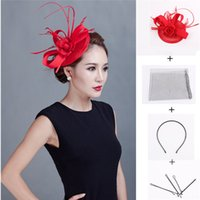 sinamay hat - Latest Sinamay Satin Fascinator Feather Cocktail Hat for Wedding Party SFC12370