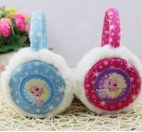 Wholesale Frozen fever earmuff cartoon Elsa princess ear muffs girls fleece ear warmer headbands for winter kids christmas gift baby fashion accessory