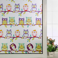 baby window clings - New Arrival Owls Stastic Cling Stained Glass Window Film Decal for Baby Kids Room Window Door Decoration DIY Home Deocration Wall Decal