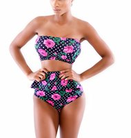 discount bathing suits - Discount High waist women swimsuit bikini set push up swimwear monokini bandage bathing suit