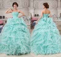 Cheap Charming 2015 Peacock Green Prom Dresses Ball Gowns Organza Sweetheart Sleeveless Plus Pleats Cascading Ruffles Christmas Dresses At Pageant