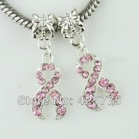 Cheap 50pcs Pink Rhinestone Crystal Ribbon Breast Cancer Awareness Silver Plated Charms Big Hole Beads For Jewelry European Bracelets