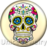 button skull - AD1301218 mm Snap On Charms for Bracelet Necklace Hot Sale DIY Findings Glass Snap Buttons Jewelry Halloween skull Design noosa