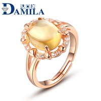 Cheap Crystal jewelry wholesale jewelry Ring citrine silver ring natural stone mosaic certificate