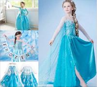 Wholesale 2015 New Frozen Princess Dresses Blue Elsa Anna Princess long Dresses Sleeve party Birthday lace Tutu Sequins Dresses best quality