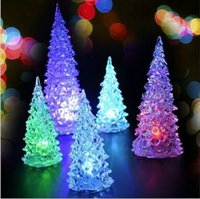 Wholesale Christmas Tree LED Night Light Halloween Gifts Crystal Lamp Lighting Changeable Colors