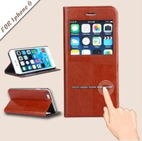 Leather apple flap - For Iphone s s inch PU Leather Case Window View Free Flap Answer KickStand Flip Leather Case Back Cover With Retail Box