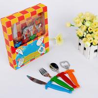 Wholesale Stainless steel and plastic cutlery sets knife spoon fork beer opener set children s tableware melamine dinnerware sets