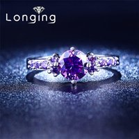 Wholesale S925 Sterling silver Purple Amethyst Jewelry Wedding Rings For Women Jewelry luxury Bijoux Accessories CZ diamond NEW LSR199
