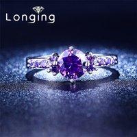 amethyst diamond rings - S925 Sterling silver Purple Amethyst Jewelry Wedding Rings For Women Jewelry luxury Bijoux Accessories CZ diamond NEW LSR199
