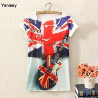 applique flag large - 2015 Plus Size Tops Cropped Of New Women s Guitar Flag Printed Long Section Of Large Size Korean Sleeved T shirt FG1511