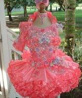Wholesale Glitz Toddler Girls Pageant Dresses One Sleeve Flowers Crystal Beaded Tiered Ruffles Flower Girls Dresses Ball Gowns Little Girls Dresses
