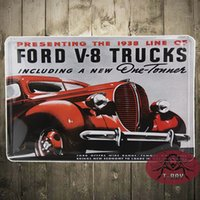 antique ford - 20 CM PRESENTING THE LINE OF FORD V TRUCKS INCLUDING A NEW ONE TONNES Metal Signs Cafe Shop Retro Tin Painting
