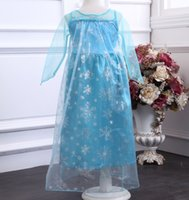Wholesale Halloween Frozen Princess Dress Blue Elsa Dresses Wape Girls New Fashion Frozen Cosplay Dresses Costume Girls Pageant Dresses