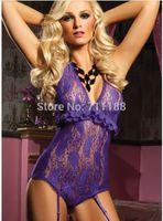 Wholesale w1025 sexy lingerie purple lace teddy v deep hot women nightown teddy dress with garter sleepwear M XL XXXL