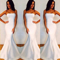 strapless maxi dress - New Sexy Women Strapless Wrapped Long Maxi Dress Formal Wedding Evening Party Gown Bridesmade Prom Mermaid Trendy White Dresses