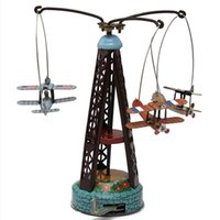 Wholesale 2015 New Coming Wind Up Toy Rotating Airplane Carousel Clockwork Tin Toys Cute Vintage Toy for Children Adult
