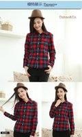 basic flannel - 2015 Hot Sale Women Shirts tops new Cotton Flannel Plaid Shirt Female Student Women s Long sleeve Plus Size Basic Blouses