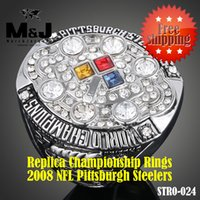 Cheap 2008 Pittsburgh National Football Steelers sale replica super bowl championship rings men jewelry wholesale Free shipping STR0-024