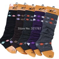 argyle boots - pairs Argyle Leg Warmers Socks for Women Elastic Legging Boot Cover Gaiters Cuffs Knitted Socks
