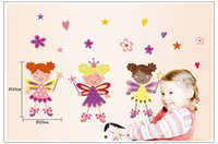 Wholesale 2014 New CARTON ANGEL Wall Stickers Bedroom Children s Room Cartoon Girl Stickers Removable Wall Sticker zy7010