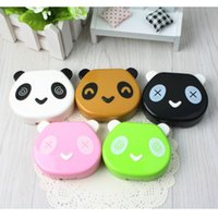 Wholesale Porfessional Pocket Mini Travel Cute Cartoon Panda Shape Contact Lens Case Box Easy Carry Container Holder