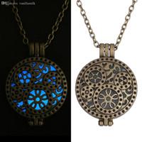 aqua fairy - Glowing Steampunk Necklace Magical Fire Fairy Glow In The Dark Necklace Aqua Large Locket Women Jewelry