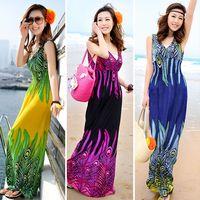 Wholesale New colors plus size XL XXXL summer new deep v neck peacock bohemia long beach dress sexy casual maxi dress