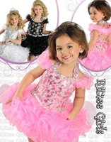 baby pageant wear - 2015 Beautiful Ritzee Girls Halter Ball Gown Organza Crystal Beads Infant Pageant Dresses Cupcake Kids Formal Wear Toddler Short Dresses Hot