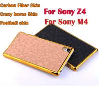 aqua metallic - Hard Metallic Chrome case Crazy horse Carbon fiber Football skin Luxury Phone cover cases For Sony Ericsson Xperia Z4 M4 Aqua