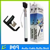 Wholesale D09 Cable Wired Monopod Selfie Stick Selfiestick Monopod Extendable Pole Selfy Stick With Rear Camera Mirror for iPhone Samsung Android