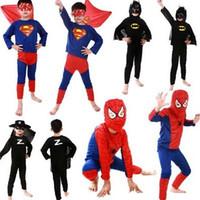 Large batman movie suit - Spiderman Superman Batman Zorro Halloween Costume Suits Kits For Kids Children superhero suits spiderman costume set long sleeve in stock