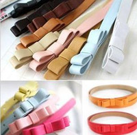 ladies belts - 2015 Hot Fashion waist belts for women Candy Color bow Thin pu Leather Belt brand Waistband Female Straps Ladies Cummerbund colors