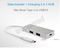 Wholesale Type C USB3 USB Port Hub Adapter Charger for Apple New Macbook Pro Retina Faster Data Transfers Hub Aluminum