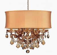 Wholesale Maria Theresa Chandelier Light Silk shade Antique Brass or Polished Chrome or Gold