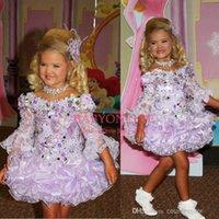 Nuevo diseñador Niña adorable # 039; s vestidos del desfile lindo encaje Bateau mangas largas Lentejuelas Cuentas Ruffle corto princesa Girl # 039; s de la falda BO6610