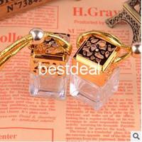 car perfume bottle - 100pcs Quartet ML with cover perfume bottle jar bottle car pendants boutique car empty bottle gold silver