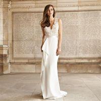 Wholesale White Sexy Deep V Neck Wedding Dresses Illusion Lace Top Side Splits Sheath Long Beach Bridal Gowns Sneath Tea Party Dress Vestidos