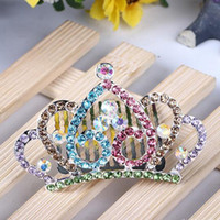 Wholesale Princess Rhinestone Crown Comb Children tiaras infant Hair Clip for Girls Kids Party Hair Combs Jewelry Accessories H271