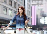 gradient denim shirt - Gradient Blue Denim Shirt Long Sleeve Wash Water Cowboy Casual Shirts For Women