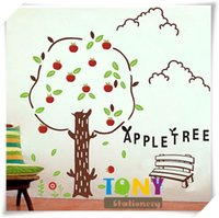 apple wall sticker - Fifth Generation Apple Treecartoon wall stickers for Children Room Sofa Background Can Remove Sticker cm QW041