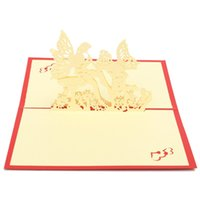 anniversary wishes couple - 3D Pop Up Greeting Cards Handmade Kirigami Birthday Wishes Double Heart Cover Sweet Couple Anniversary Wedding Gifts