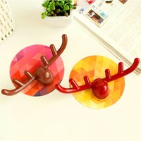 antler coat hooks - Hot Sale Color Random Portable Cute Antlers Traceless Coat Kitchen Bathroom magic Seamless Hooks hanger Home Storage