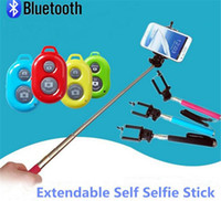Wholesale Extendable Selfie Monopod Selfie Stick Handheld Monopod Clip Holder Bluetooth Camera Shutter Remote Controller for iPhone Samsung Gopro