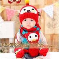 baby boy hats mittens - Cartoon Knitted Beanie Hat Boys Girls Scarf Glove Mittens Wool Cap Kids Hats Autumn Winter Hat Baby Crochet Hats Children Caps