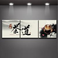 al por mayor lienzo cotización-Ceremonia china del té y carácter Cita 3 paneles Pintura Impresiones En Lienzo Estiradas Impresión moderna de la imagen mural del arte